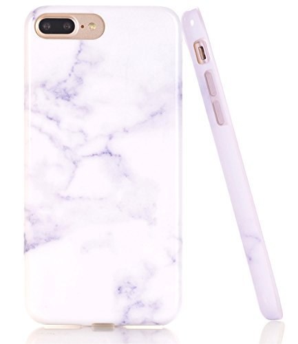 iPhone 7 Plus Case, White Marble Creative Design, BAISRKE Slim Flexible Soft Silicone Bumper Shockproof Gel TPU Rubber Glossy Skin Cover Case for iPhone 7 Plus & iPhone 8 Plus