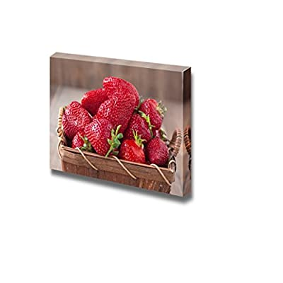 Canvas Prints Wall Art - Fresh Ripe Strawberries in Vintage Basket Fruits Photograph | Modern Wall Decor/Home Decoration Stretched Gallery Canvas Wrap Giclee Print & Ready to Hang - 16