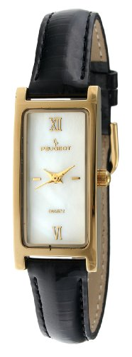 14k Ladies Watch - Peugeot Women's 3017BK 14K Gold-Plated Watch with Skinny Strap