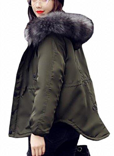 Down Fly Faux Jacket Year Outerwear Hooded Green Parka Coat Fur uk Padded Women's aq1FwAB