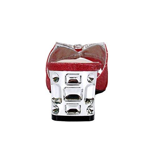 Floreale Farrah Donne Ampia Larghezza Strass Arco Slip-on Graziosi Sandali Con Tacco A Blocchi Decorati (misura / Misura) Rosso