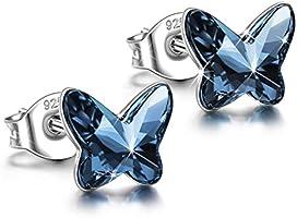 ANGEL NINA Pendientes Collar Mariposa Mujer 925 Plata con Cristales Swarovski Azul, Regalos Navidad Viene en Caja de Regalo de Joyería, Prueba de SGS aprobada
