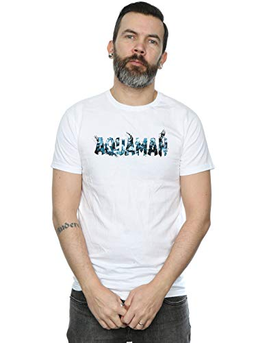 Blanc Homme Text T Logo Aquaman Comics Dc shirt OSq477