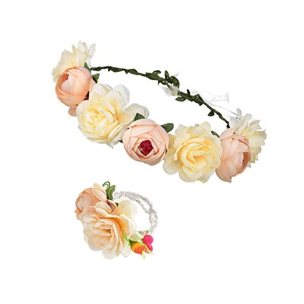 DDazzling Nature Berries Flower Crown with Floral Wrist Band for Wedding Festivals (Champagne)