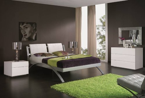 ESF Nina 390 Modern Metalic Frame Platform Bed White - King Size by (ESF) European Style Furniture