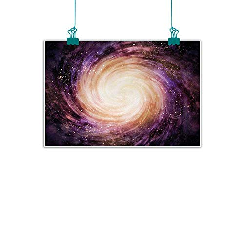 Unpremoon Galaxy,Painting Picture Prints Large Pink and Purple Spiral Stardust Planet in Space Science Fiction Print W 36