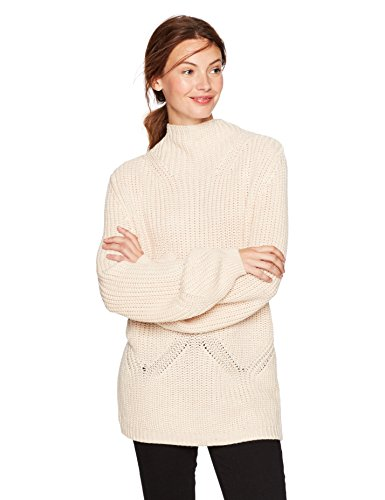 Cable Stitch Women's Mock Neck Pullover Sweater Small Oatmeal ()