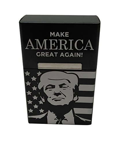 Lighting Cigarette - A-Lighting Donald Trump Cigarette Box Case Trump Gifts for Dad (Black)