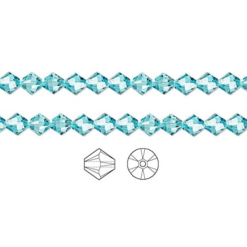 (Swarovski Crystal Beads Light Turquoise 5328 Xilion Bicone 4mm Package of 48)