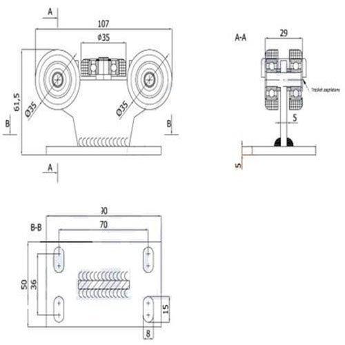 ohne H/öhenverstellung profil 40x40 dicke 2mm Zabi Schiebetore Rollenwagen mit 5 Rollen