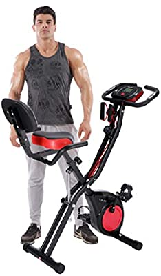 PLENY Upright Stationary Exercise Bike w/Arm Exercise Resistance Bands, Phone Holder and 300 lbs Weight Support