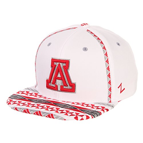 ZHATS NCAA Arizona Wildcats Men's Pukalani Snapback Hat, Adjustable, White