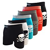 Crazy Cool Seamless Fun Boxer Briefs Boy Short Underwear 6-Pack (Skull-6Pack)