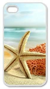 Iphone 4 4s PC Hard Shell Case Starfish Beside the Ocean White Skin by Sallylotus by ruishername