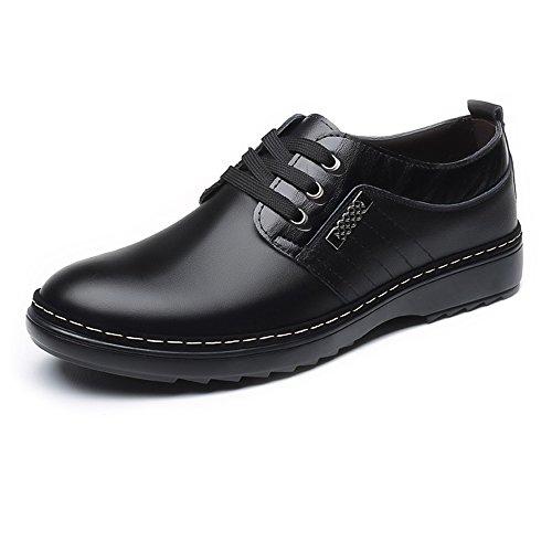 BMD-Shoes Scarpe di pelle, Scarpe casual da uomo da uomo Matte in vera pelle con lacci e lacci in fodera traspirante (Color : Marrone, Dimensione : 39 EU) Nero