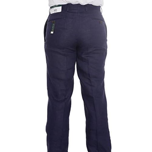 5ae05aa239 Ralph Lauren Men s Flat Front Solid Navy Linen Dress Pants outlet ...