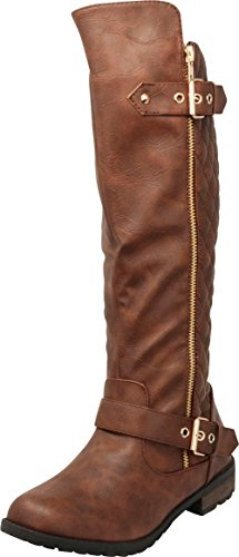 Cambridge Select Women's Quilted Side Zip Knee High Flat Riding Boots,9 B(M) - Womens Boots High Knee Brown