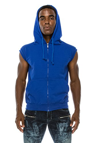 Angel Cola Men's Sleeveless Hoodie Zip Up Vest PT601 Royal L
