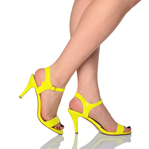 Neon Yellow Heel Women Shoes High Patent Barely Sandals Size There Ajvani OxCwTZZ