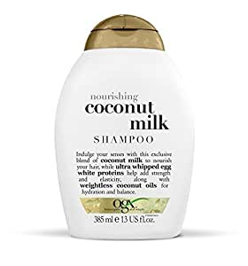 OGX Shampoo Nourishing Coconut Milk, (1) 13 Ounce Bottle, Paraben Free, Sulfate Free, Sustainable Ingredients, Strengthens, Hydrates, Balances and Restores Elasticity