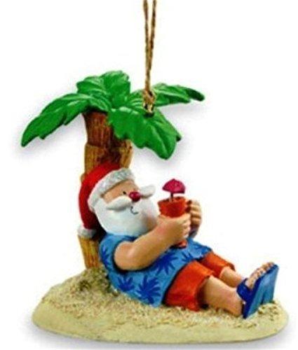 Tree Christmas Palm Ornament (Santa Relaxing Under a Palm Tree Beach Break Christmas Ornament)
