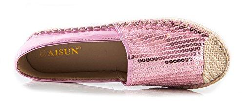 Loafer Paillettes Donna Slip Per Dress Aisun Rosa On Toe Dressy 8x6nq7Y