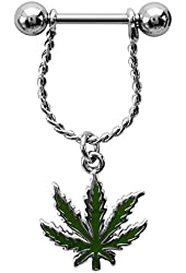 """Pot Leaf Weed Dangle Surgical Steel Nipple Ring 1/2"""""""