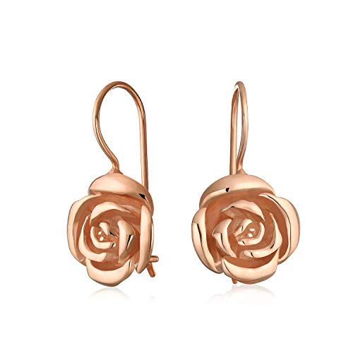 Flower Rose Drop Earrings For Women For Mother French Wire Rose Gold Plated 925 Sterling Silver