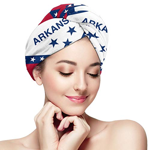 MICHAEL PATEL Arkansas State Flag Hair Towel Wrap Turban Microfiber Drying Bath Shower Head Towel with Buttons Super Absorbent Fast Drying Bath Cap Dry Hair Hat ()