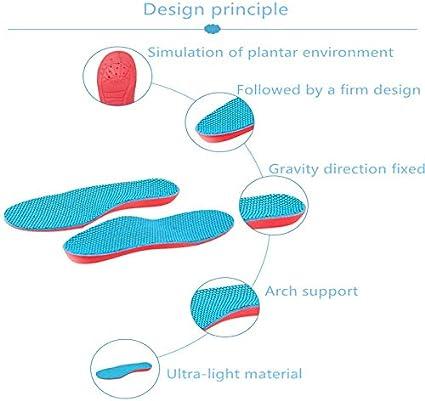 ZXF Los niños pies Planos Corrección Plantillas Transpirable Sudor Desodorante Puede Cortar for niños Plantillas Deportes (Color : Blue, Size : 180 mm to 195 mm)