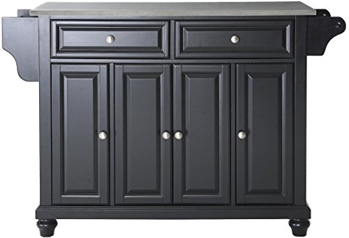 Crosley Furniture Cambridge Kitchen Island with Stainless Steel Top – Black