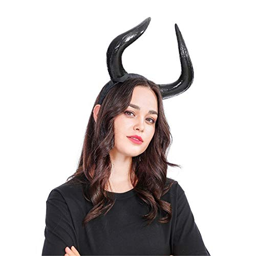 Maleficent Horns Headband (Qhome Gothic Ox Horn Hoop Headband Forest Animal Photography Original Manual Aries Exhibition Cosplay Photo Props Deluxe Costume Mischievous Horns)