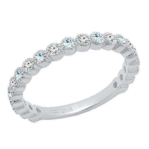 14K White Gold Round Aquamarine & White Diamond Eternity Stackable Wedding Band (Size (Aquamarine White Gold Eternity Bands)