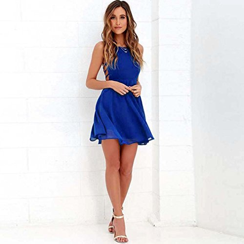 Sans Line Robe Mode Backless Filles dames Summer Femmes Fte Casual Jupe Mini Robe Robe Yanhoo Party Cocktail Boho Jupes Halter Bandage A Bleu Femmes D't Manches WPZqfFR