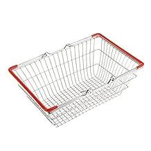 Generic Red Medium Metal Shopping Basket Table Storage Basket Kids Role Play Toys