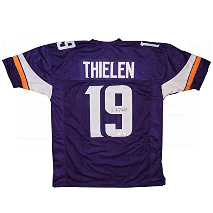 - Vikings Tse Jersey Certified At Adam Amazon's Purple Autographed 19 Sports Custom Thielen Signed Authentic Store Collectibles Auto Minnesota