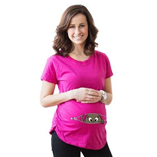 Highdas Mama embarazada camiseta con el patrón del bebé del pío divertido Mujeres top de embarazo varios_colores