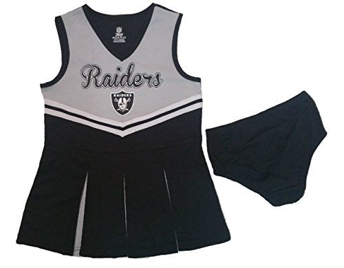 Cheerleader Raider Costume (Oakland Raiders Girls Young Kids Small 6/6X Cheerleader Dress Matching Bloomers)