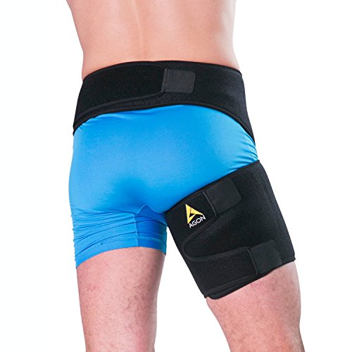 Agon® Groin Support - Pulled Hamstring Hip Joint Pain Thigh Wrap Brace Groin Strain Recovery & Sciatica Pulled Groin Quad Hamstring Compression Sleeve Injury for Men and Women by Agon