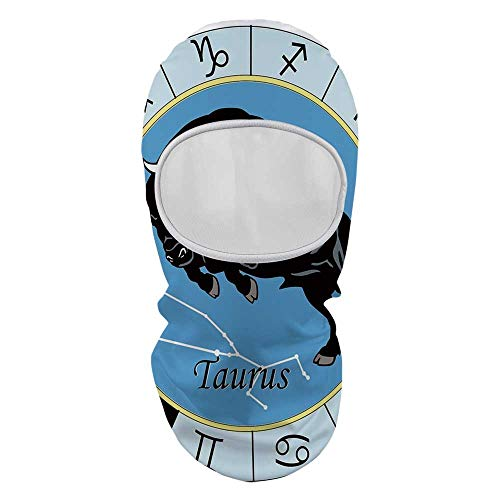 (YOLIYANA Taurus Face Mask,Zodiac Calendar with Bull Inside Celestial Creature Character Esoteric Print for Outdoor,8.6