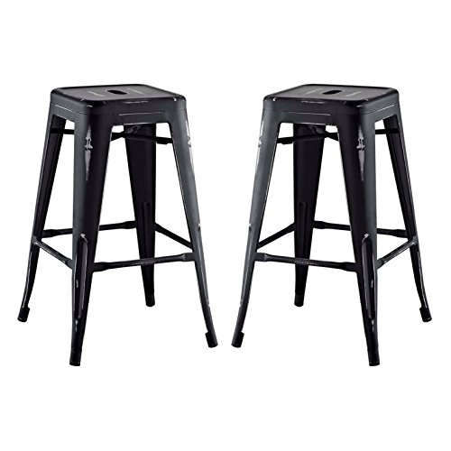 Modern Urban Industrial Distressed Antique Vintage Counter Stool Chair ( Set of 2), Black, Metal by America Luxury - Stools (Image #4)