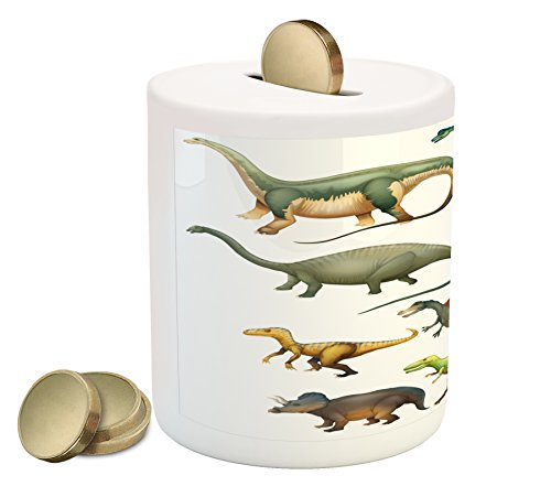 Ambesonne Dinosaur Piggy Bank, Various Different Ancient Animals from Jurassic Period Cartoon Collection Mammals, Printed Ceramic Coin Bank Money Box for Cash Saving, Multicolor