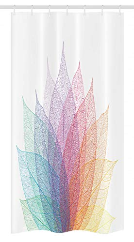 Ambesonne Abstract Stall Shower Curtain, Leaf Abstract Artwork Four Season Flora Delicate Transparent Nature Theme, Fabric Bathroom Decor Set with Hooks, 36 W x 72 L Inches, Yellow Red Green
