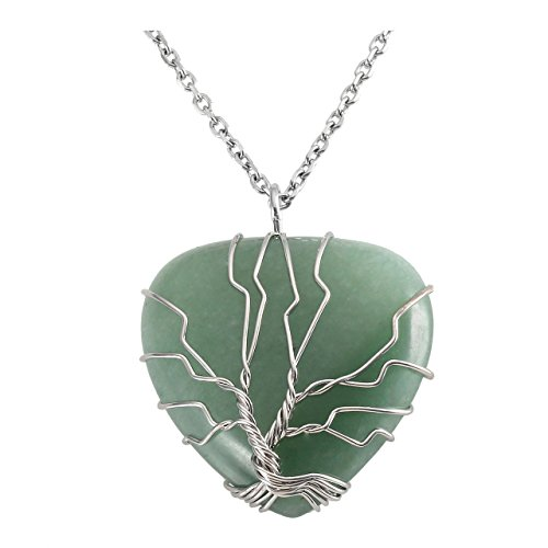 Top Plaza Natural Green Aventurine Healing Crystals Necklace Silver Tree of Life Wire Wrapped Heart Shape Stone Pendant for Womens Girls Ladies - Heart Natural Necklace Stone Green