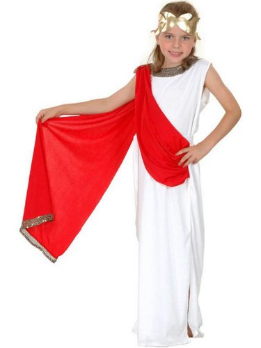 (Girls Roman Greek Caesar Goddess Toga Emperor Fancy Dress Costume 4-12 yr LARGE by)