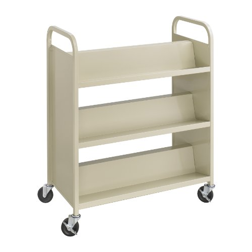 Safco Products 5357SA Steel Double-Sided Book Cart, 3 Shelves On Each Side, Sand by Safco Products