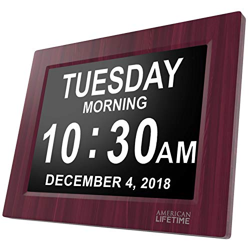 [Newest Version] Day Clock - Extra Large Impaired Vision Digital Clock with Battery Backup & 5 Alarm Options (Premium Mahogany Color) ()