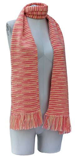 Handmade Alpaca and Wool Scarf – Kentucky Stripes (PEACH)