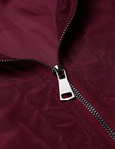 Zip Zeagoo Solid Jacket Red Bomber Up Classic Dark Biker Style2 Coat Womens Jacket BTxWgTrnXO