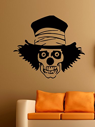 Images Of Scary Clowns (Scary Clown Vinyl Wall Decals Skull Bones Hat Halloween Horror Decal Sticker Vinyl Murals Decors IL0214)
